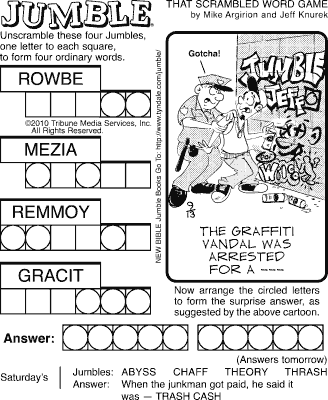 photo relating to Printable Jumble Puzzles titled sudoku printable: Comics Curmudgeon Classification Jumble Archives