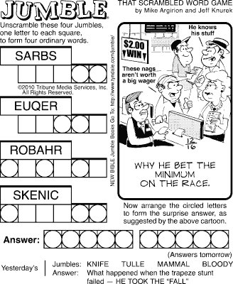 photo relating to Printable Word Jumble referred to as Jumble Website page 5 The Comics Curmudgeon